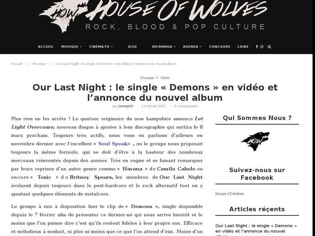 Our Last Night : le single «Demons» en vidéo et l'annonce du nouvel album