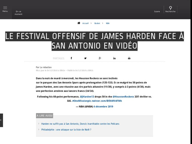 Basket - NBA - Le festival offensif de James Harden face à San Antonio en vidéo