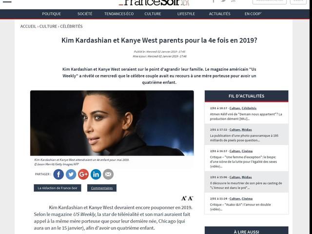 Kim Kardashian et Kanye West parents pour la 4e fois en 2019?