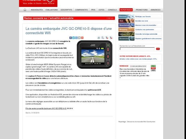 La caméra embarquée JVC GC-DRE10-S dispose d'une connectivité Wifi
