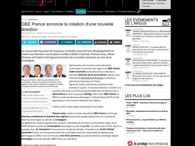 QBE France annonce la création d'une nouvelle direction
