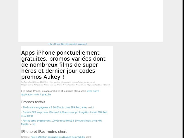 Apps iPhone ponctuellement gratuites, promos variées dont de nombreux films de super héros et dernier jour codes promos Aukey !