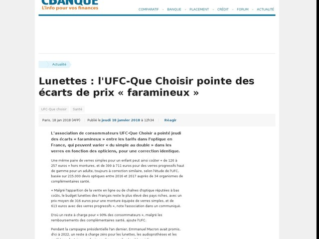 Lunettes : l'UFC-Que Choisir pointe des écarts de prix « faramineux »