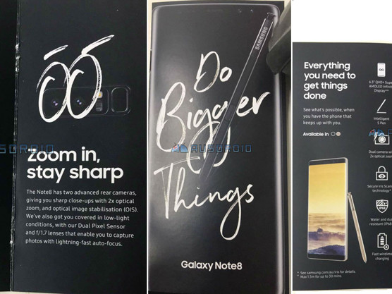 Galaxy Note 8: une brochure en fuite donne quelques informations