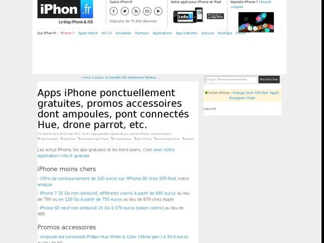 Apps iPhone ponctuellement gratuites, promos accessoires dont ampoules, pont connectés Hue, drone parrot, etc.