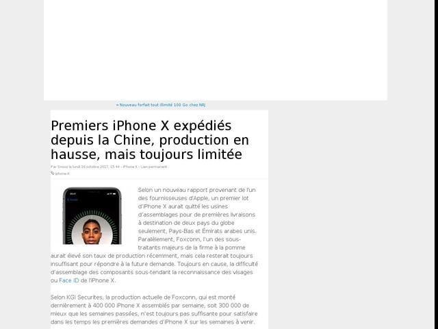 Premiers iPhone X expédiés depuis la Chine, production en hausse, mais toujours limitée