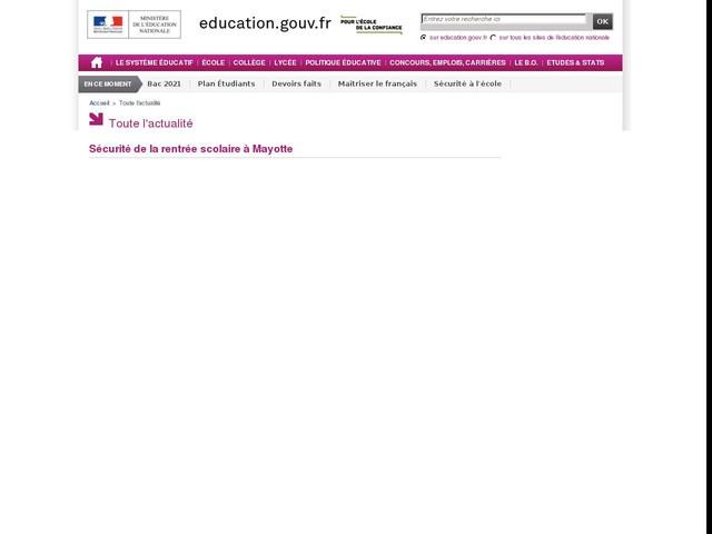 Sécurité de la rentrée scolaire à Mayotte - communiqué de presse