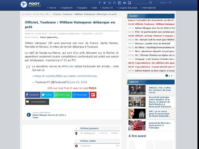 Officiel, Toulouse : William Vainqueur débarque en prêt