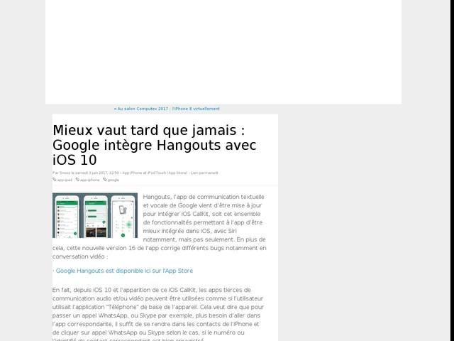 Mieux vaut tard que jamais : Google intègre Hangouts avec iOS 10