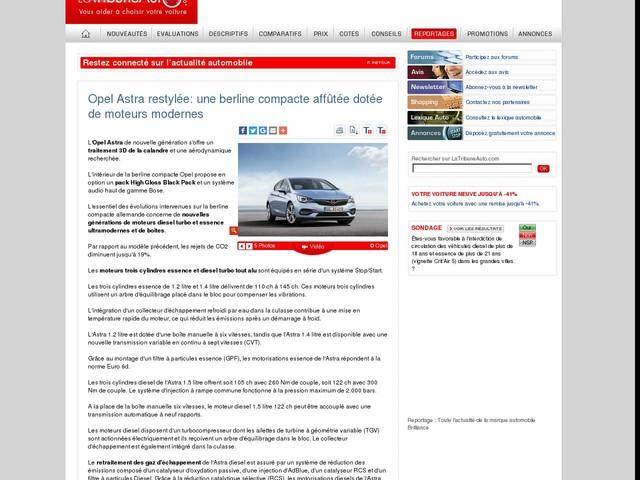 Opel Astra restylée: une berline compacte affûtée dotée de moteurs modernes