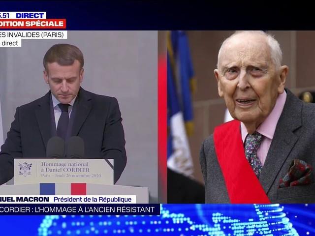 """Hommage à Daniel Cordier: Emmanuel Macron évoque un homme """"prêt à tous les sacrifices pour que la France resta la France"""""""