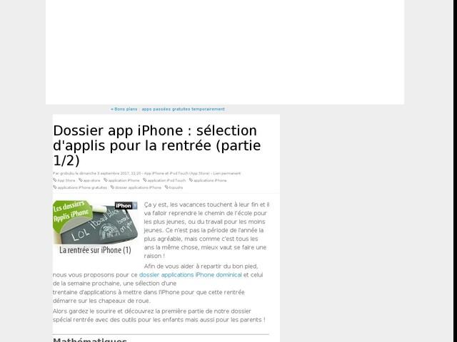 Dossier app iPhone : sélection d'applis pour la rentrée (partie 1/2)