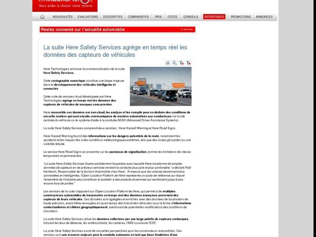 La suite Here Safety Services agrège en temps réel les données des capteurs de véhicules