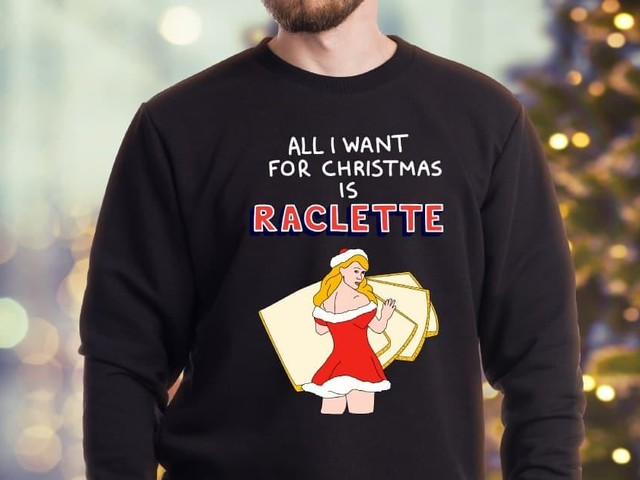 [TOPITRUC] Un pull de Noël «All I want for Christmas is raclette»