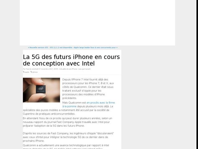 La 5G des futurs iPhone en cours de conception avec Intel