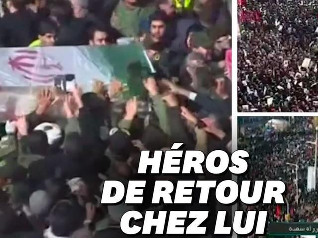 Á l'enterrement de Soleimani à Kerman, la foule était immense