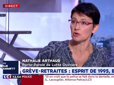 Vidéo - LCI midi - Le débat (extraits) : Violences policières, réforme des retraites, grève à la RATP... Les interventions de Nathalie Arthaud