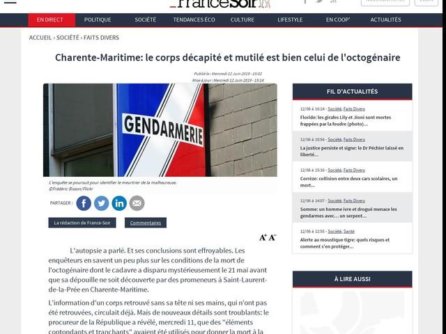 Charente-Maritime: le corps décapité et mutilé est bien celui de l'octogénaire