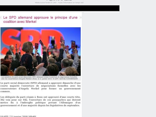 Le SPD allemand approuve le principe d'une coalition avec Merkel