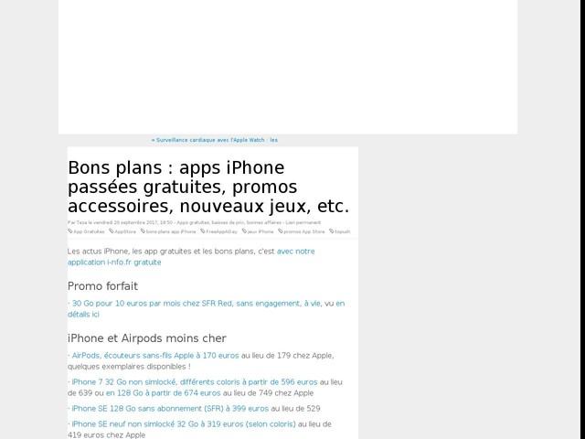 Bons plans : apps iPhone passées gratuites, promos accessoires, nouveaux jeux, etc.