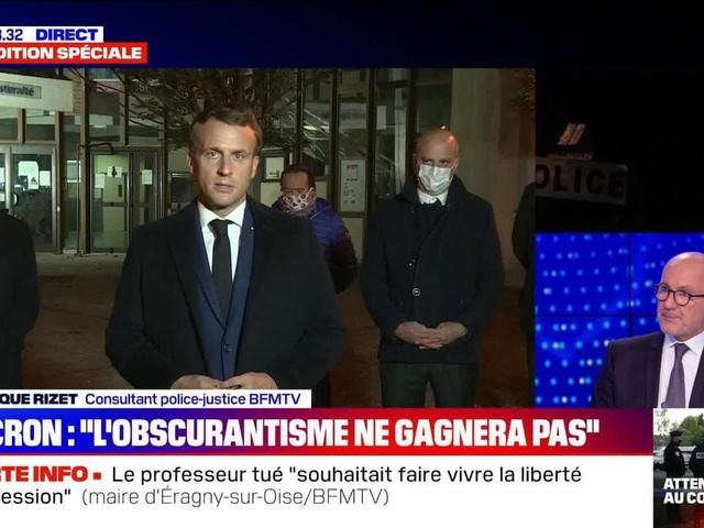 """Homme décapité à Conflans: """"L'obscurantisme ne gagnera pas"""", selon Emmanuel Macron (1/2) - 16/10"""