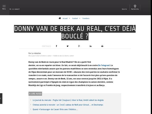 Football - Transferts - Donny van de Beek au Real, c'est déjà bouclé ?
