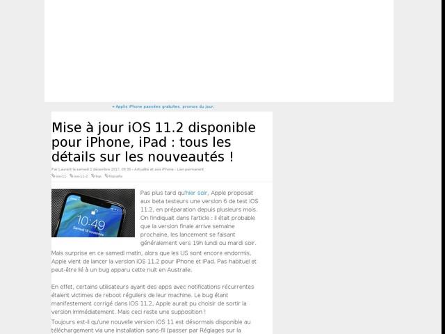 Mise à jour iOS 11.2 disponible pour iPhone, iPad : tous les détails sur les nouveautés !