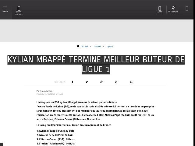 Football - Ligue 1 - Kylian Mbappé termine meilleur buteur de Ligue 1