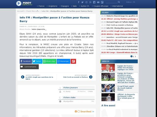 Info FM : Montpellier passe à l'action pour Hamza Barry
