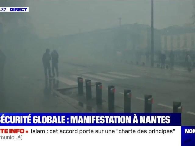 Loi Sécurité globale: des tirs de gaz lacrymogène en fin de manifestation à Nantes