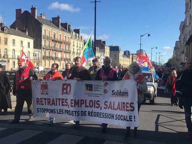 Rennes : entre 1.500 et 3.500 manifestants contre la réforme des retraites