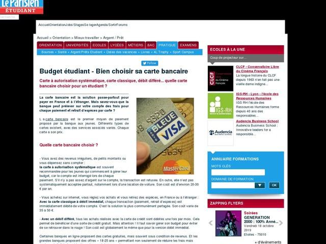Budget étudiant - Bien choisir sa carte bancaire