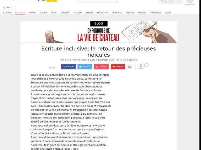 Ecriture inclusive: le retour des précieuses ridicules