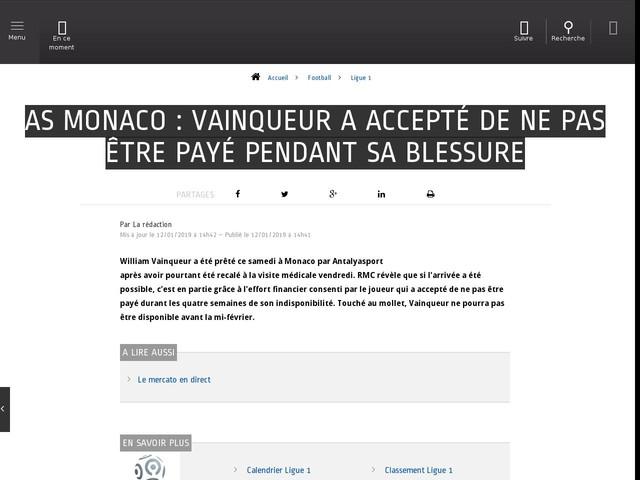 Football - Ligue 1 - AS Monaco : Vainqueur a accepté de ne pas être payé pendant sa blessure