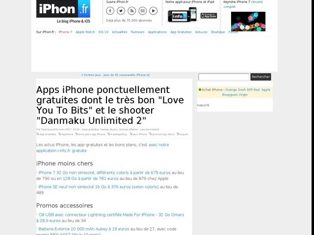 """Apps iPhone ponctuellement gratuites dont le très bon """"Love You To Bits"""" et le shooter """"Danmaku Unlimited 2"""""""
