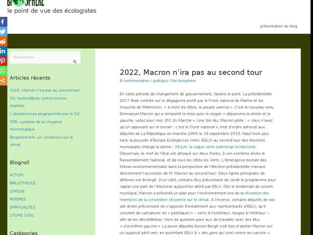 Commentaires sur 2022, Macron n'ira pas au second tour par Rapporterre