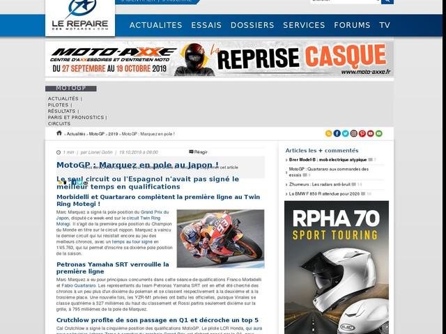 MotoGP : Marquez en pole !