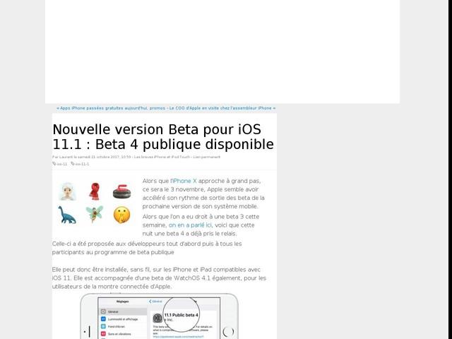 Nouvelle version Beta pour iOS 11.1 : Beta 4 publique disponible