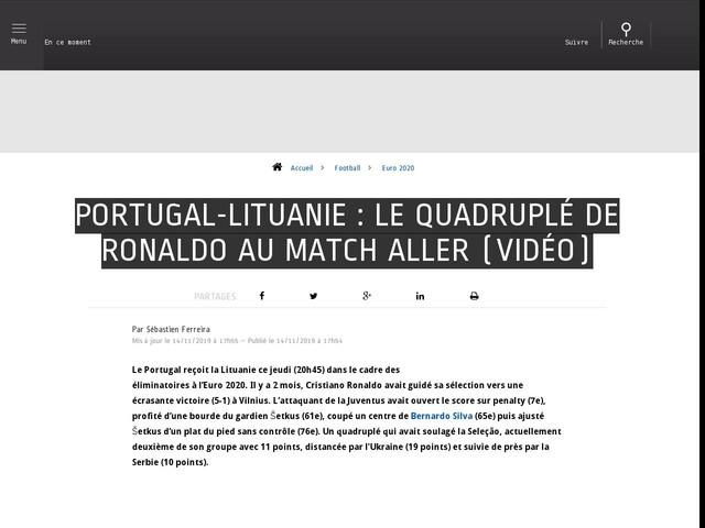 Football - Euro 2020 - Portugal-Lituanie : le quadruplé de Ronaldo au match aller (vidéo)