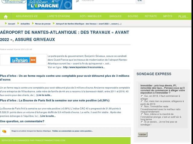 Aéroport de Nantes-Atlantique : des travaux « avant 2022 », assure Griveaux