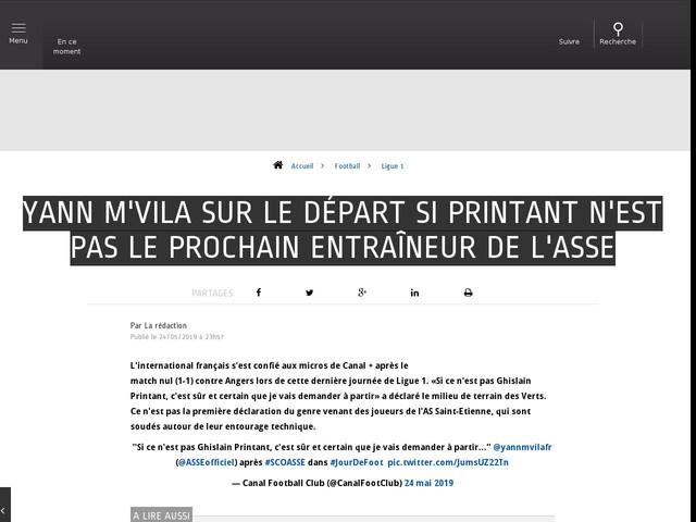 Football - Ligue 1 - Yann M'Vila sur le départ si Printant n'est pas le prochain entraîneur de l'ASSE