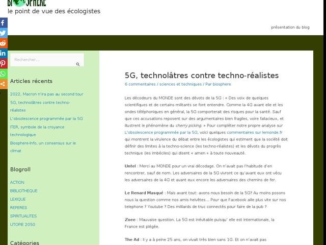 Commentaires sur 5G, technolâtres contre techno-réalistes par Didier BARTHES