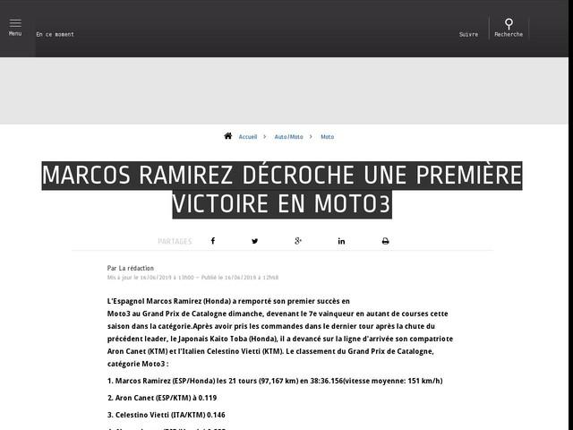 Auto/Moto - Marcos Ramirez décroche une première victoire en Moto3
