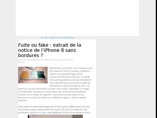 Fuite ou fake : extrait de la notice de l'iPhone 8 sans bordures ?