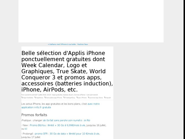 Belle sélection d'Applis iPhone ponctuellement gratuites dont Week Calendar, Logo et Graphiques, True Skate, World Conqueror 3 et promos apps, accessoires (batteries induction), iPhone, AirPods, etc.