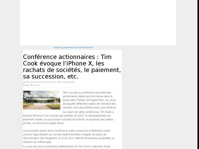 Conférence actionnaires : Tim Cook évoque l'iPhone X, les rachats de sociétés, le paiement, sa succession, etc.