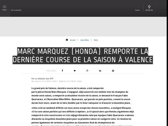 Auto/Moto - Marc Marquez (Honda) remporte la dernière course de la saison à Valence