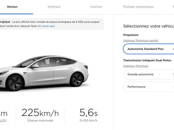Tesla Model 3 : la version de base voit son prix augmenter de 1000 euros