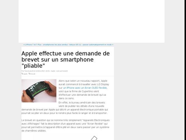 """Apple effectue une demande de brevet sur un smartphone """"pliable"""""""