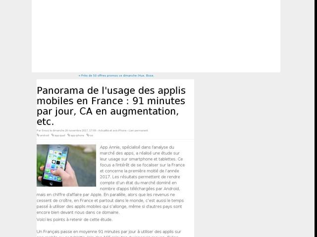 Panorama de l'usage des applis mobiles en France : 91 minutes par jour, CA en augmentation, etc.
